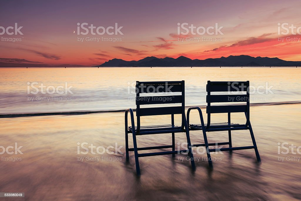 Beautiful Cannes beach landscape on the French Riviera stock photo