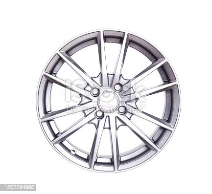 Beautiful car wheel in the form of rays on a white background, isolate
