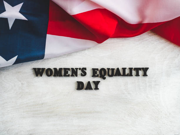 Beautiful card for Women's Equality Day. Close-up Beautiful card for Women's Equality Day. Wooden letters with a congratulatory inscription on a white background. Close-up, top view. Congratulations for loved ones, relatives, friends and colleagues women's suffrage stock pictures, royalty-free photos & images