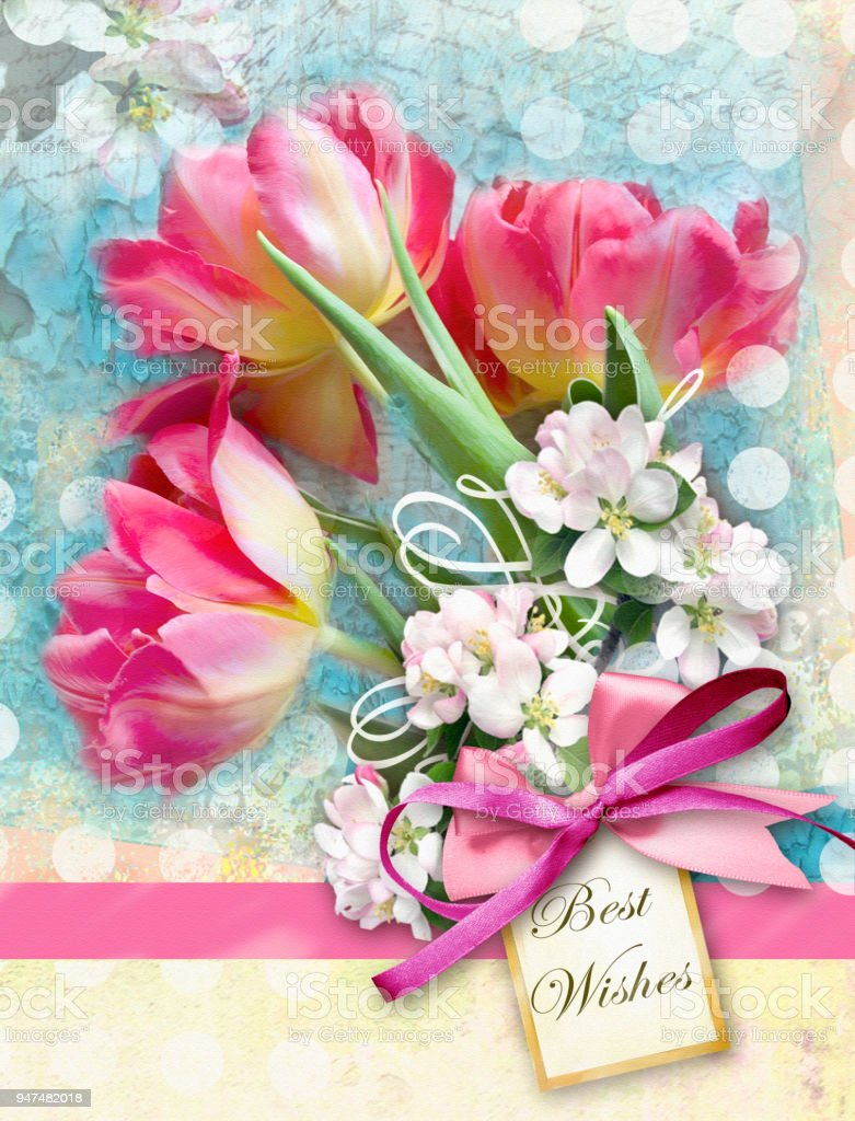 Beautiful Card With Bouquet Of Red Tulips End Other Spring Flowers