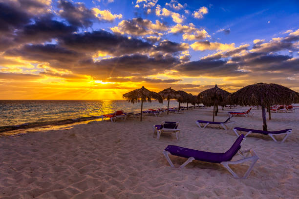 Beautiful Caribbean Beach At Sunset Cuba Stock Photo