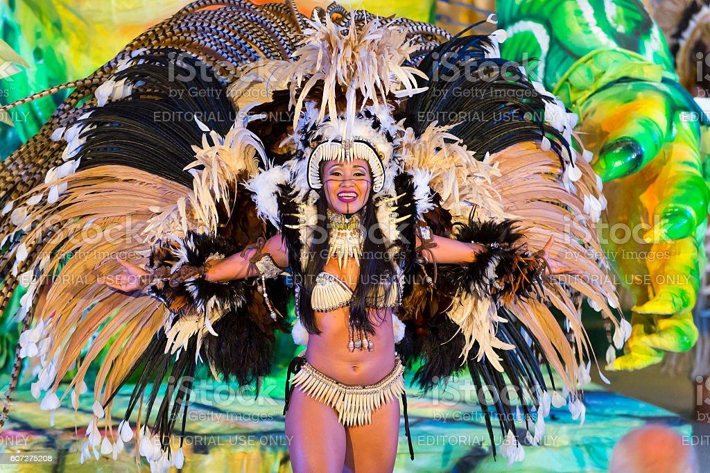 Beautiful carnival girl stock photo