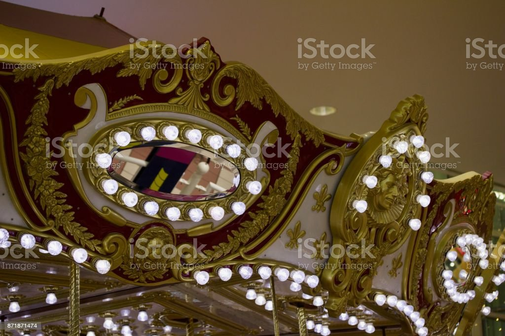 Beautiful Carousel View with Energy Saving Lights stock photo