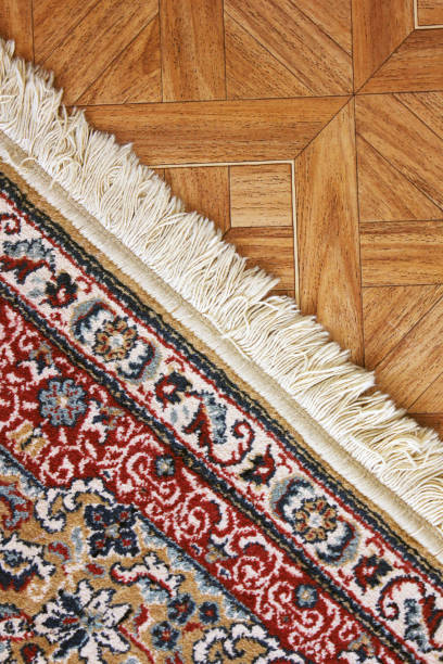 A beautiful carpet on the floor stock photo