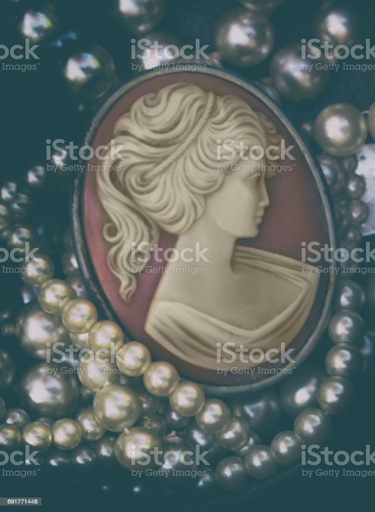 Beautiful carved Cameo Pin retro style stock photo