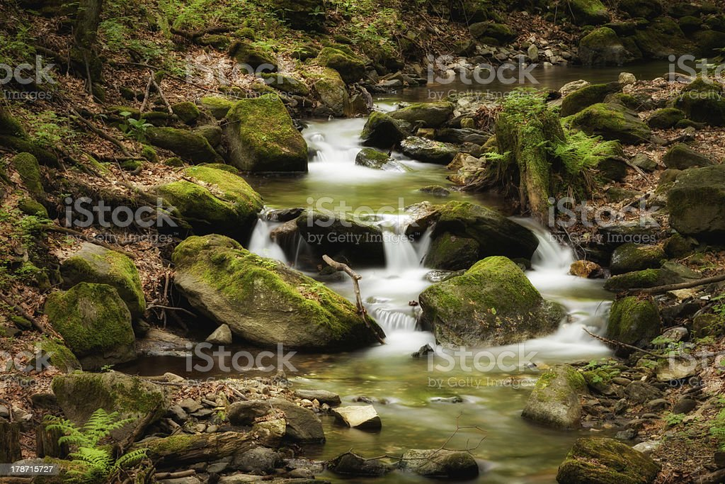 Beautiful cascade in Sudety mountains stock photo