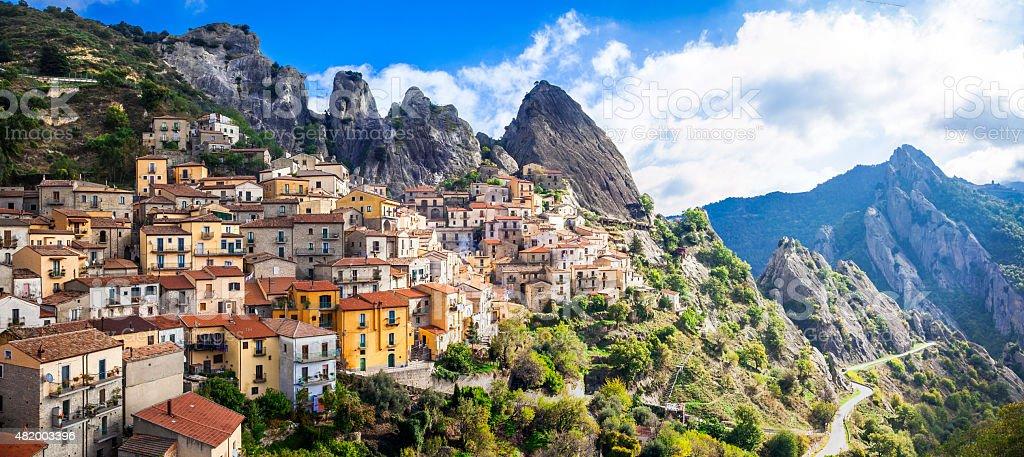 Beautiful Castelmezzano,Basilicata,Italy. stock photo