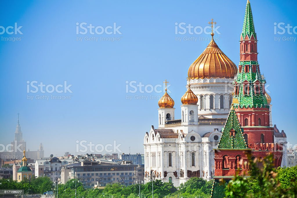 Beautiful Cathedral of Christ the Savior view stock photo