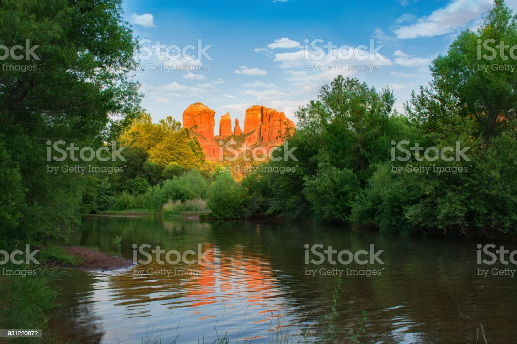 Beautiful Cathedral Rock reflected in water. stock photo