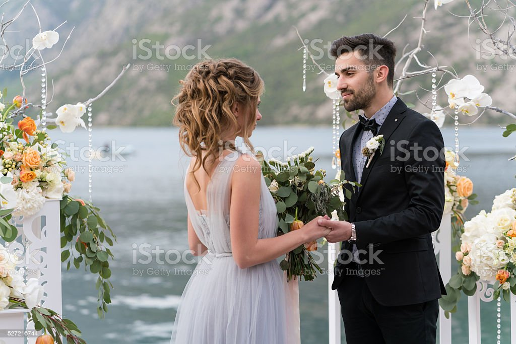 beautiful caucasian couple just married stock photo