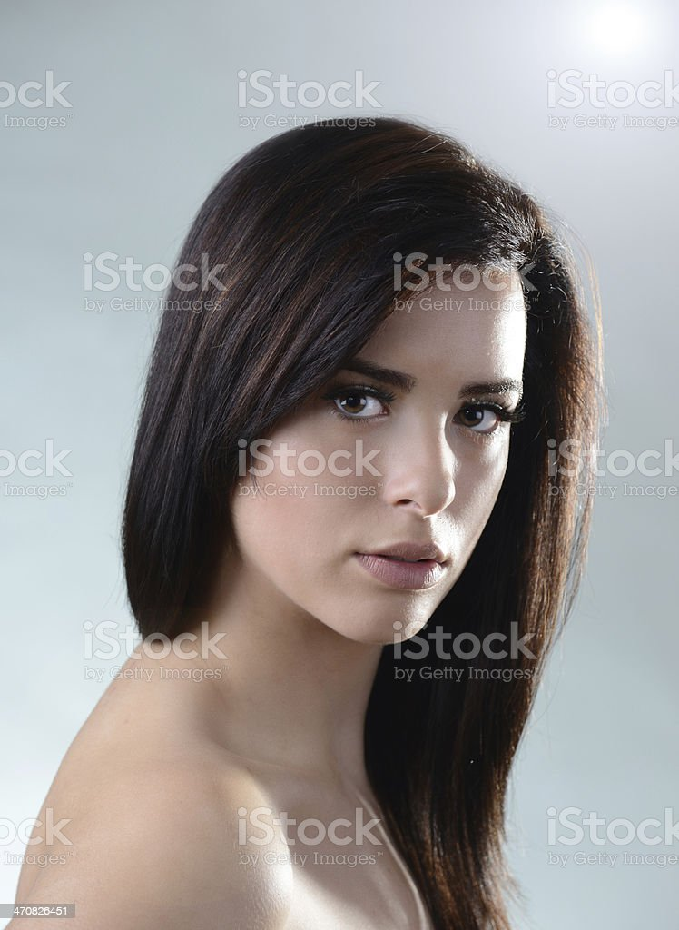 Beautiful caucasian fashion model portrait with perfect skin and smile royalty-free stock photo