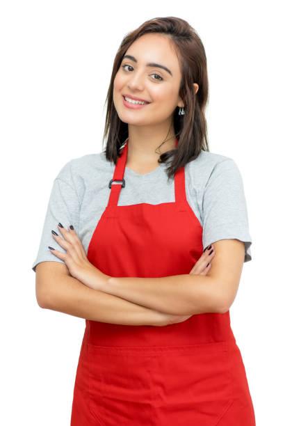 bella cameriera caucasica con grembiule rosso - bancarella foto e immagini stock