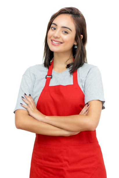 Beautiful caucasian waitress with red apron Beautiful caucasian waitress with red apron isolated on white background for cut out apron stock pictures, royalty-free photos & images
