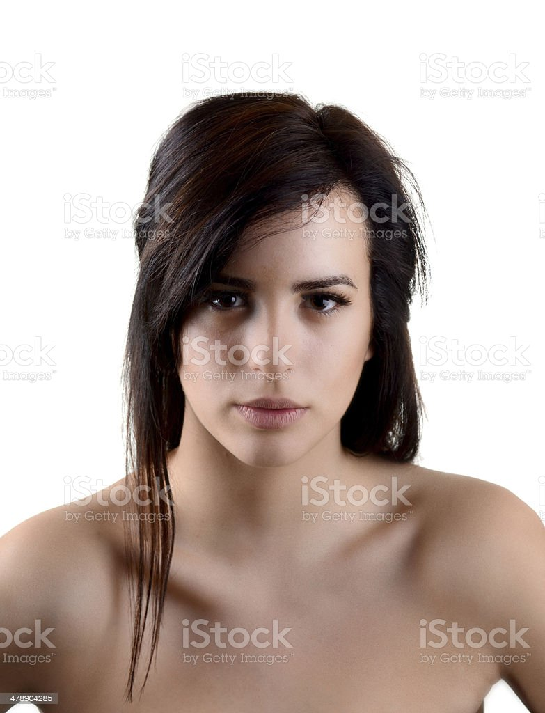 Beautiful caucasian woman on the isolated background royalty-free stock photo