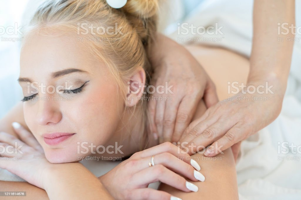Beautiful Caucasian Woman Sleeping Rest Relax On Bed For Spa Asia