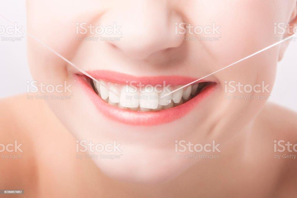 Beautiful Caucasian Woman Smile. Dental Care  Concept. stock photo