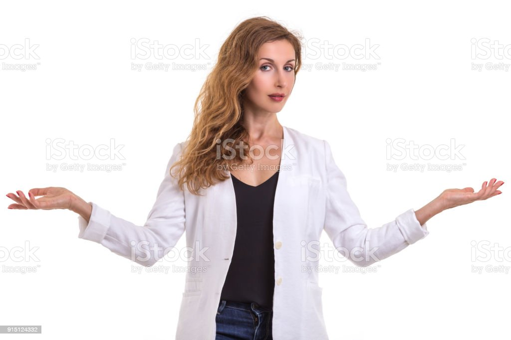 5898167270 Beautiful caucasian woman wear white shirt and jeans. Studio shot isolated  on white royalty-