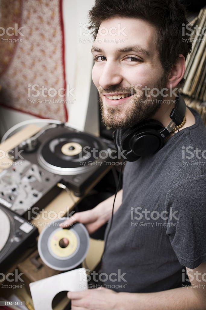 Beautiful Caucasian Young Man Dj In Music Studio Copy Space Stock