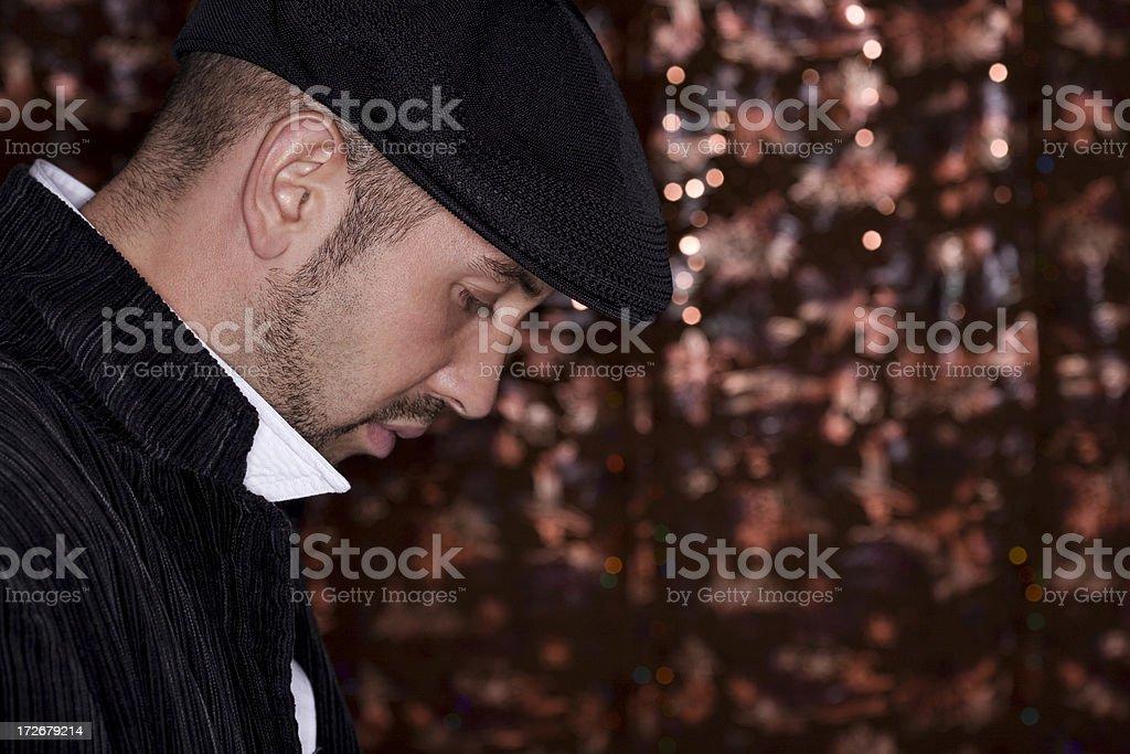 Beautiful Caucasian Young Man Fashion Model Portrait in Hat, Copyspace royalty-free stock photo