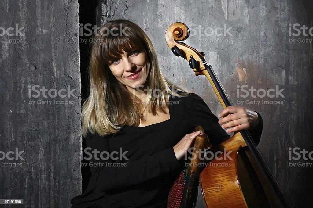Beautiful cello musician royalty-free stock photo