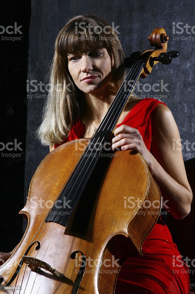 Beautiful cello musician royalty-free stock photo