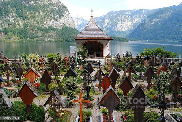 Photo of Beautiful cemetery at a lake, Hallstatt Upper Austria