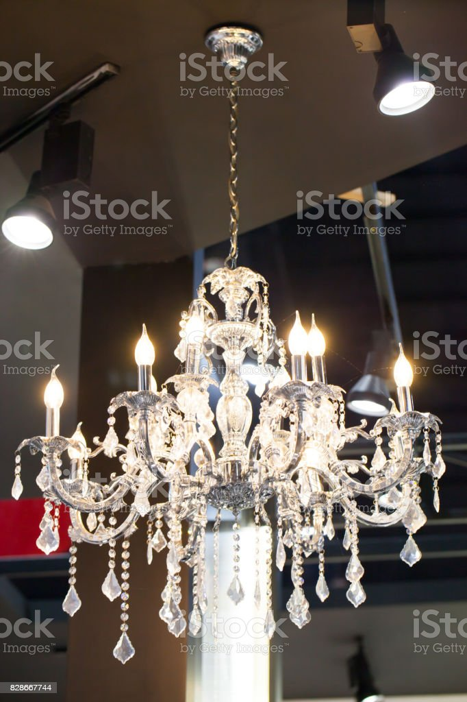 quality design 370e8 c27ce Beautiful Chandelier Luxury Expensive Chandelier Hanging Under Ceiling  Stock Photo - Download Image Now