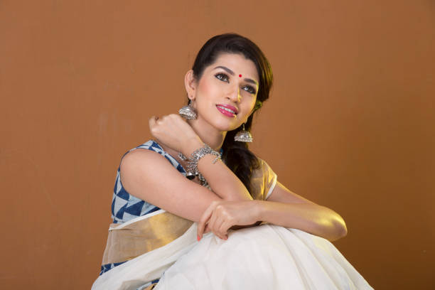 beautiful charming Indian woman in traditional attire stock photo