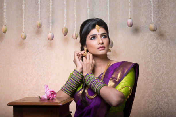 beautiful charming traditional indian bride stock photo