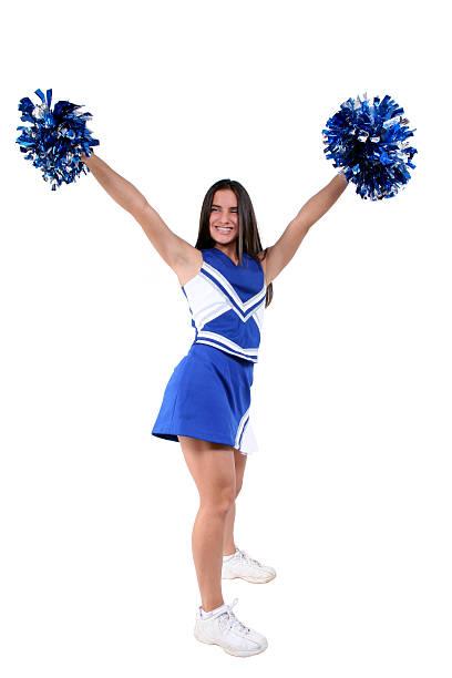 beautiful cheerleader teen with braces - pompon stockfoto's en -beelden