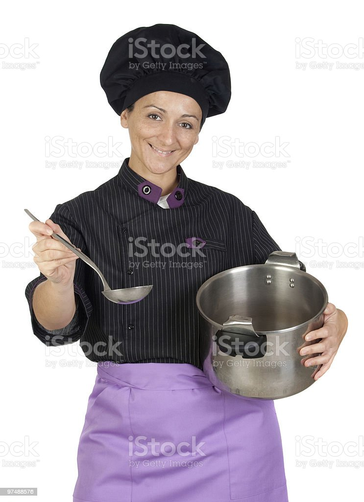 Beautiful chef girl royalty-free stock photo