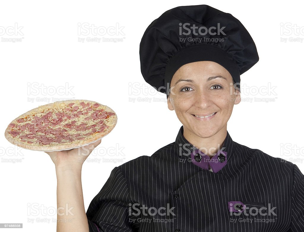 Beautiful chef girl with a pizza royalty-free stock photo