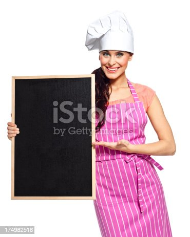 istock Beautiful chef with blackboard 174982516