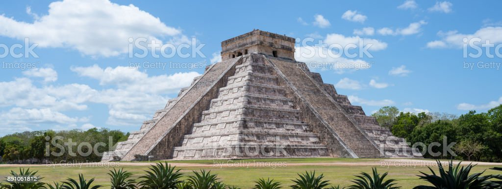 Beautiful Chichen Itza pyramid (aka Kukulkan or El Castillo) pyramid ruins - Landscape Wide Angle stock photo