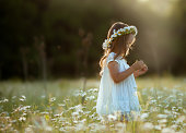 A beautiful child a girl in a white dress with a wreath of daisies on her head