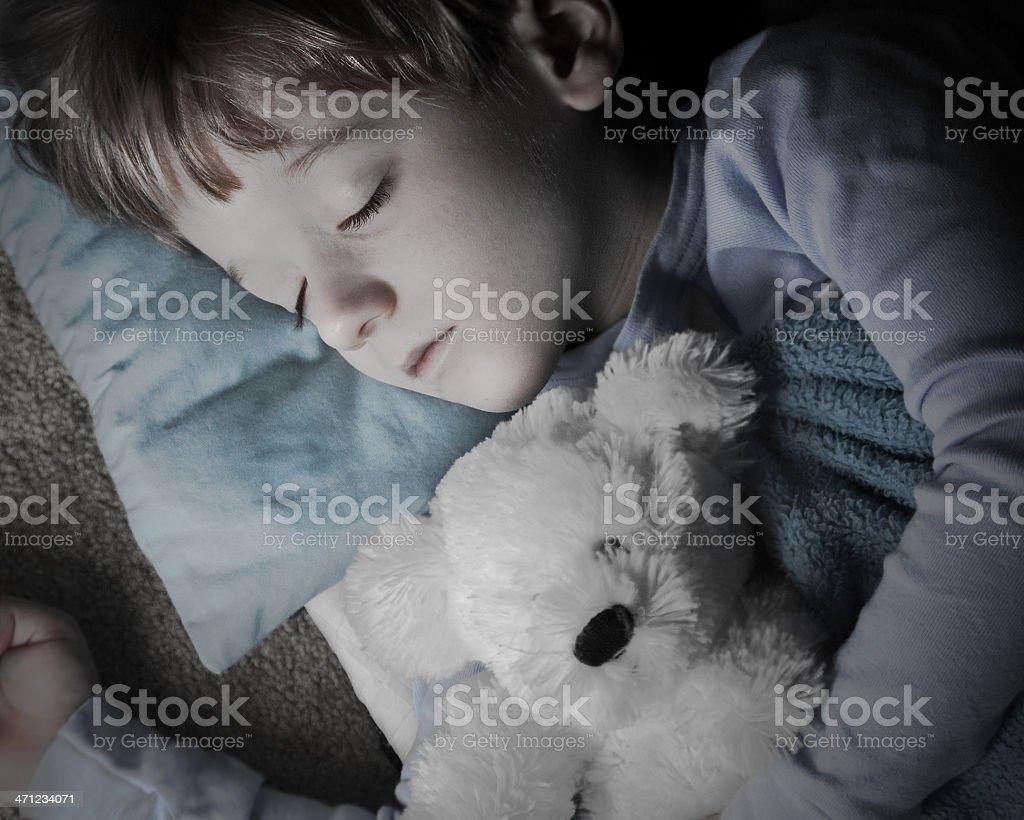 Beautiful Child Asleep With His Teddybear royalty-free stock photo
