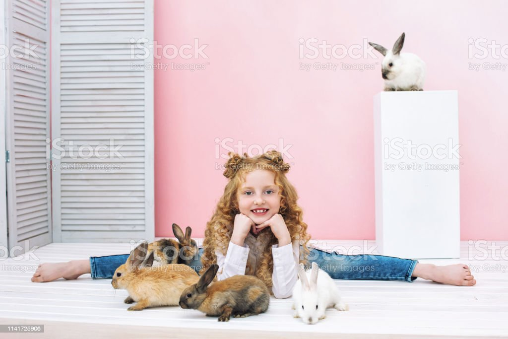 Beautiful child girl with curly hair and with fluffy animals rabbits...