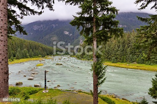 Winding Chilkoot River near Haines in Alaska is a popular fishing location and wildlife viewing attraction. Misty mountains in background.