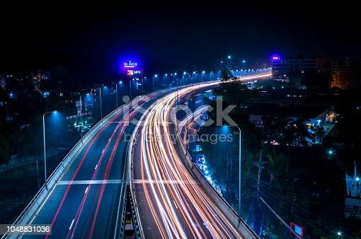 A long exposure photograph have taken from akhtaruzzaman flyover.
