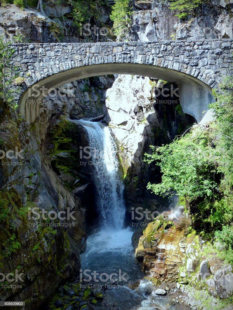 Beautiful Christine Falls in Mt Rainier National Park,USA stock photo