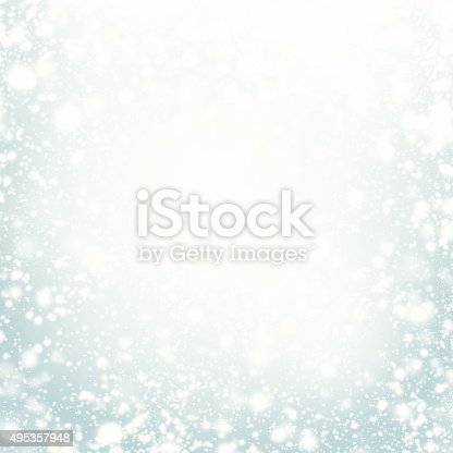 istock Beautiful Christmas background with silver lights, stars 495357948