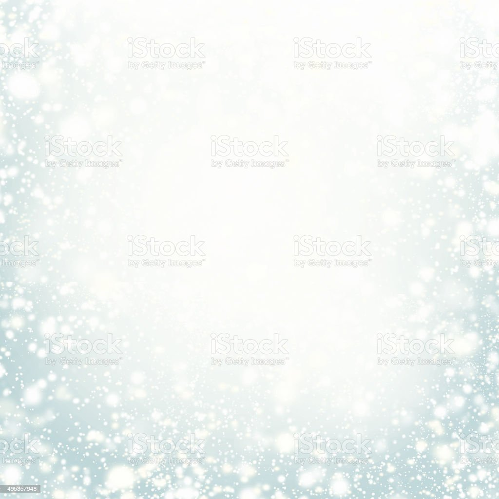 Beautiful Christmas background with silver lights, stars stock photo