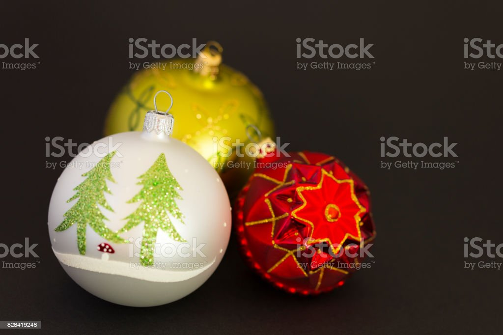 Beautiful christmas balls on dark grey background stock photo