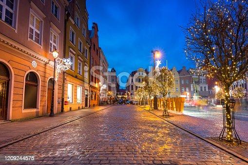 Beautiful christmas decorations on the market squere of Grudziadz, Poland