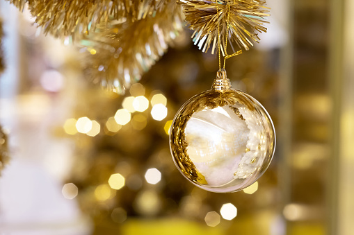 Beautiful Christmas golden ball hanging on pine tree with bokeh background