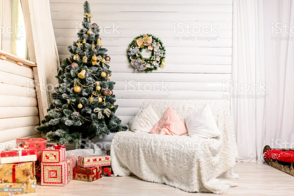 Beautiful Christmas Interior Design. Concept Of Christmas, Winter And New  Year   Stock Image .