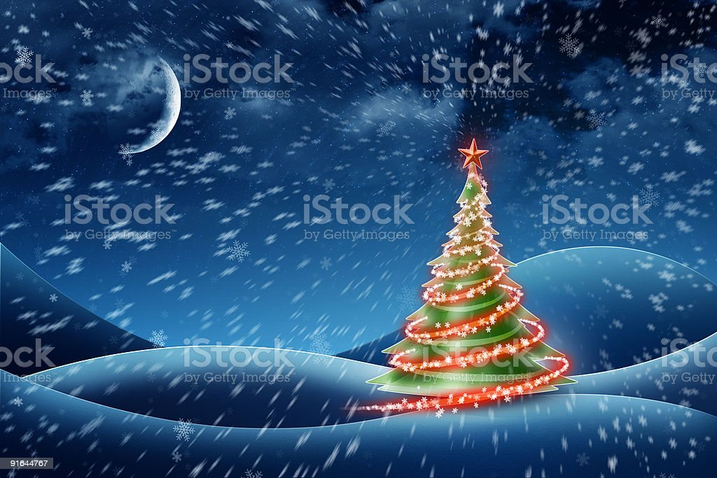 Beautiful Christmas tree! Improved night version. Background. royalty-free stock photo