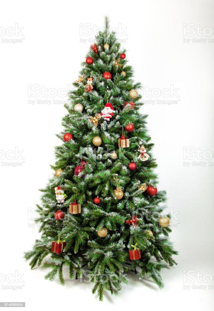 Linda árvore de Natal, isolado em um fundo branco - foto de acervo