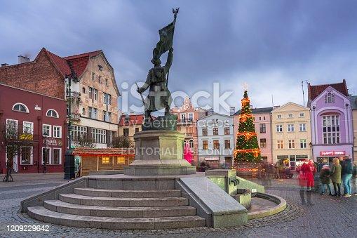Grudziadz, Poland - December 26, 2019: Beautiful christmas tree on the market squere of Grudziadz, Poland