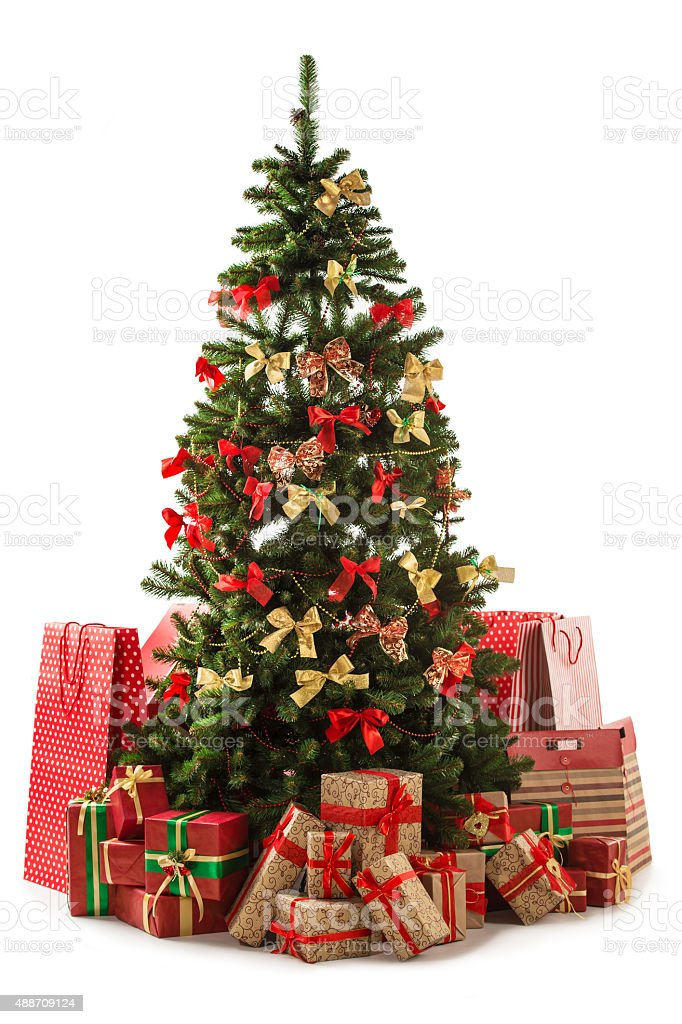 Beautiful christmas tree with gift boxes and shopping bags stock photo